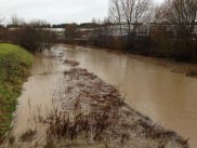 The River Uck overflows its banks behind the Bellbrook Estate. Picture: Ben Gillam.