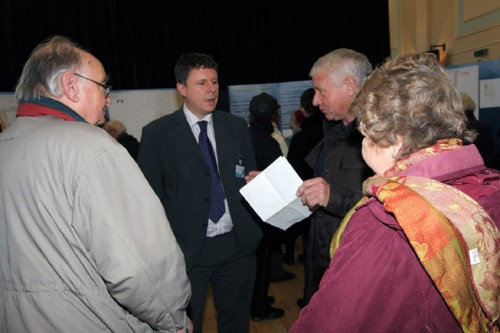 Lawrence Stringer, transport and development control manager at East Sussex County Council, chats to visitors at the Improve Uckfield exhibition.