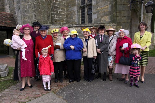 Ladies from Holy Cross Church, Uckfield, don their Easter bonnets.