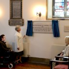 The Duchess of Gloucester unveils a plaque to commemorate the attendance by her, and the Duchess of Cornwall, at a service to mark the 100th anniversary of the foundation of St Martin's Chapel  at Chailey Heritage.