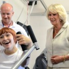 The Duchess of Cornwall is pictured at the gym at Chailey Heritage.