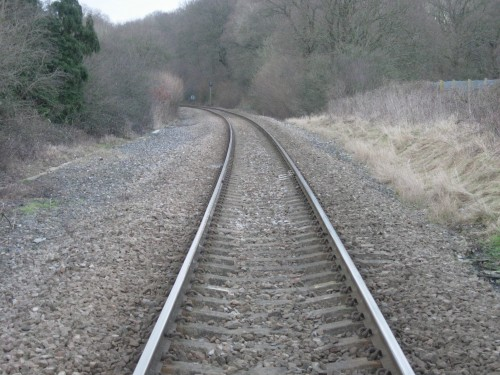 The single line track between Uckfield and Buxted