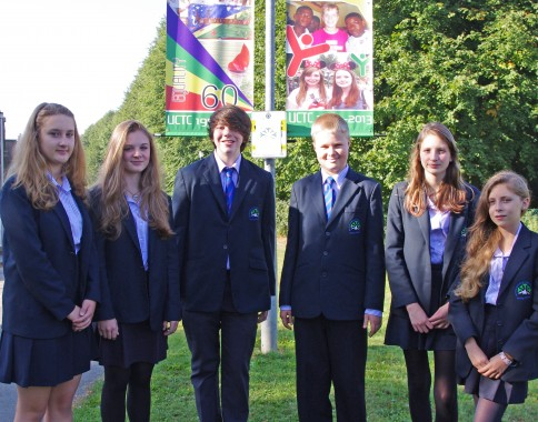 Some of the students involved in designing birthday banners for Uckfield Community Technology College. They are, from the left, Emily Newson, Amelia Warren, Kieran Groves, Ollie Heasman, Amelia Seamons and Amelia Barber.