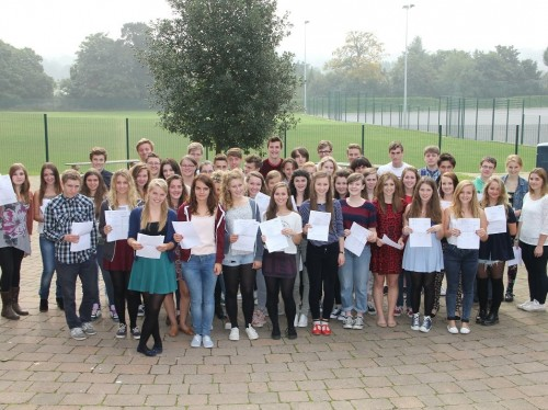 An Uckfield Community Technology College photograph of some of its most successful GCSE students in a record-breaking year.