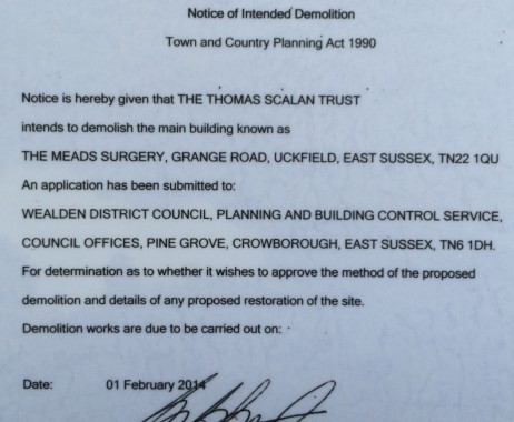 old Meads doctors' surgery demolition notice