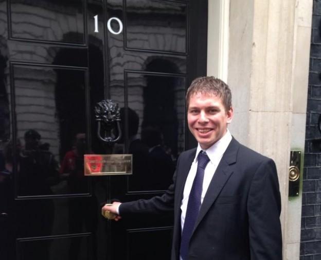Flood hero Sam Imber at Number 10 Downing Street.