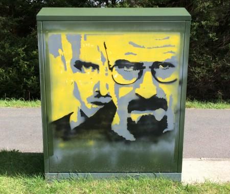 Graffiti image on a telecoms box near the Highlands roundabout, Uckfield.
