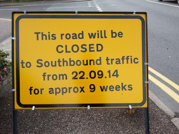 Roadworks signs Sept 2014