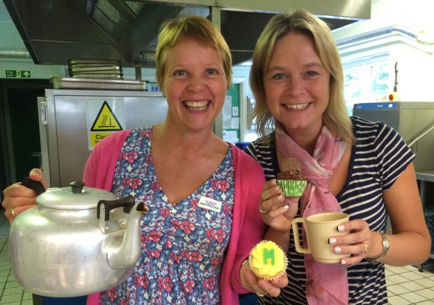 There was a cheery greeting from tea ladies for the afternoon at Bonners as the school raised funds for Macmillan Cancer Support.