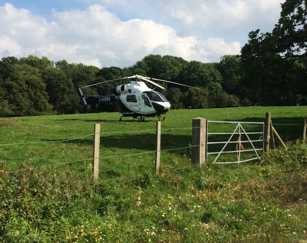 The air ambulance on a deployment to Uckfield