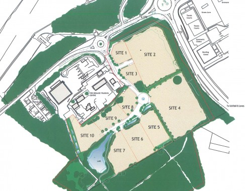 A plan of the Ashdown Business Park site showing it divided into ten plots. It is hoped work will begin on installing services in February.