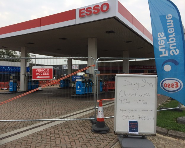 The Esso service station in Bell Farm Road, Uckfield, closed for maintenance.