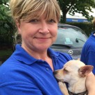 Sarah Howard from Raystede animal sanctuary with Juan a chiwawa-cross breed found roaming the streets of London.