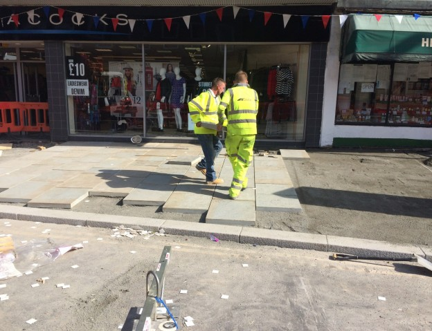 Paving slabs being laid in Uckfield High Street. This picture was taken at about 1.30pm yesterday. Many more slabs were in place by 6.30pm.