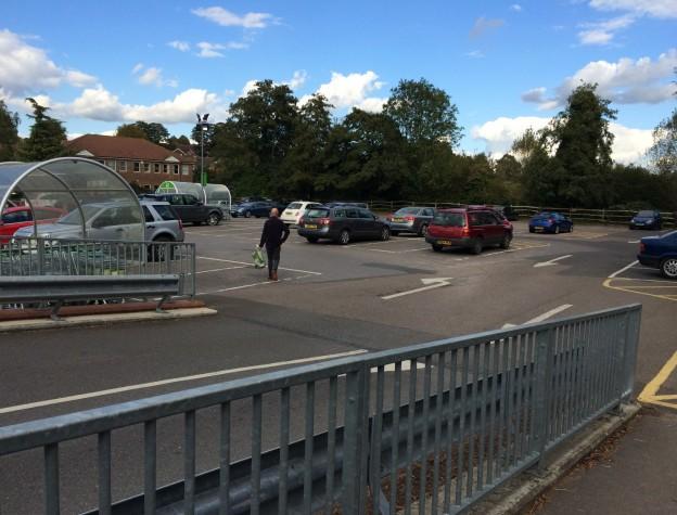 Waitrose car park photographed last week - nearly  deserted