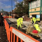 Paving slabs go down yesterday between River Way and Uckfield Railway Station.