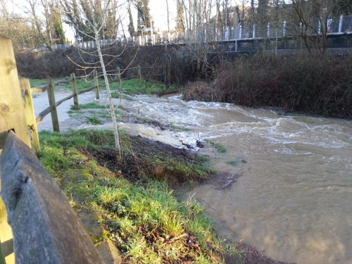 Water pouring off nature reserve Jan 8 2015