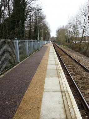 Looking along the length of the platform at Uckfield