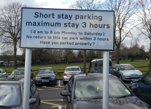 Luxford Field car park signage