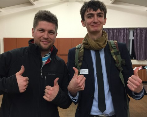 FLASHBACK: 'No' vote campaigners James Anderson, left, and Josh Gibbens are pleased with the result of the Uckfield Parish Poll.