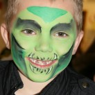 This youngster chose a scary face when his face was painted at the Dawson Hart Easter egg hunt.