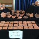 Clay tiles on display.