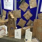 A display of cardboard creations.