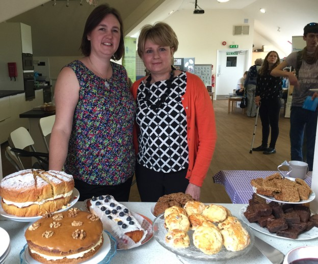Margaret Dode-Angel, Sussex Support Service manager and founder is pictured with administrator Nicola Simpson and some of the cakes made especially for visitors to a dementia support day.