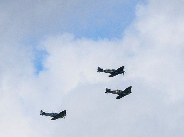 Three Spitfires fly over Uckfield on the 75th anniversary commemoration of the Battle of Britain. Picture by Nick Fontana