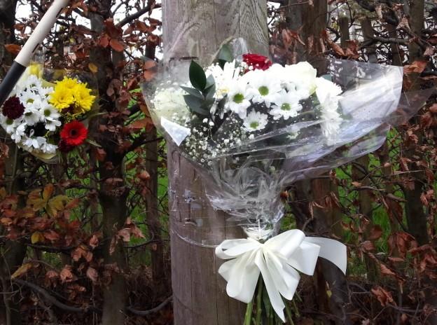 Fatal crash scene flowers 1