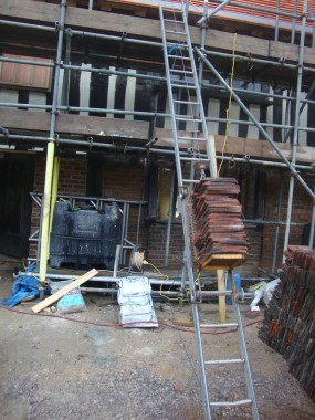 Tiles ready to go up on the roof of Bridge Cottage
