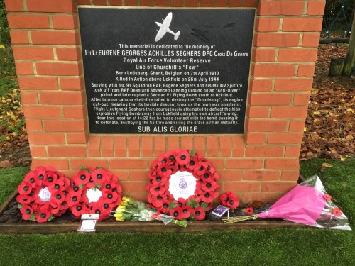 The memorial to Eugene Seghers at Remembrance-tide