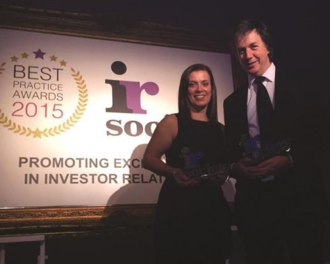 Lyndsey Case and Jon Gibb of Trifast with awards won for best practice in investor relations.