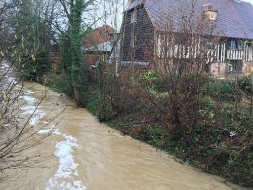 River Uck speeding past Bridge Cottage January 5, 2016