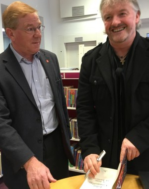 John Connolly with county councillor Chris Dowling, whose portfolio as Lead Member for Community Services includes library services. Cllr Dowling is the member for the Framfield and Horam division, which includes Ridgewood.