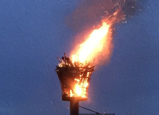 The Uckfield Beacon ablaze