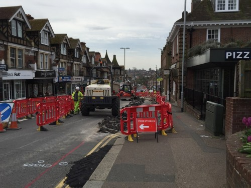 Uckfield High Street roadworks