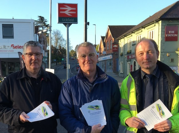 Distributing leaflets at Uckfield Railway Station this morning (from left) Keith Everett, Ian Smith and Richard Judge