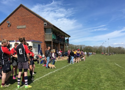 Spectators watch the opening match of the Uckfield Rugby Club Pub 7s