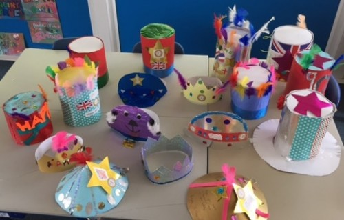 A selection of hats celebrating the Queen's 90th birthday made by Manor Park School pupils for the Big Lunch