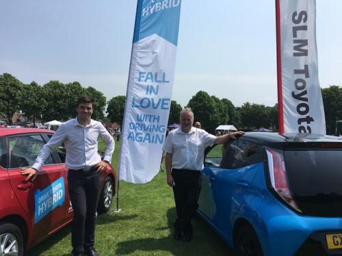 SLM Toyota Uckfield sales executive Macauley England (left) and host, Bryan Jones