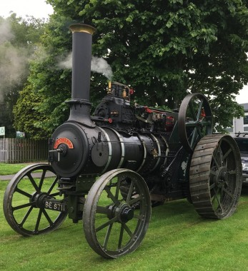 A traction engine quietly steamed on the Luxford Field for road safety day