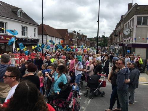 Crowds watching the parade in Uckfield High Street