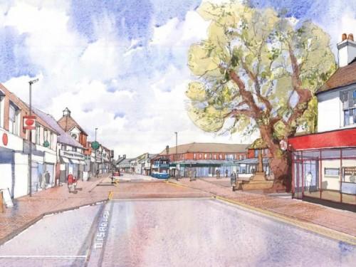 An artist's impression of  how Hailsham High Street will look following improvements.
