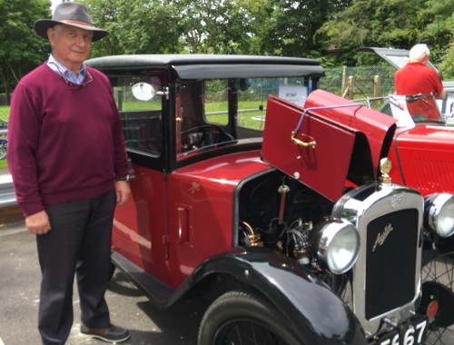 Peter Felton, of Brighton, with his 1929 Austin 7 Top Hat Saloon