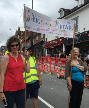Uckfield Library staff joined the parade to promote this summer's Big Friendly Read