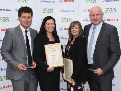 Sonia and Andy Payne are pictured, right, with their collaboration award at energy efficiency awards. With them are representatives from YES Energy Solutions who collaborated with them on a successful project.