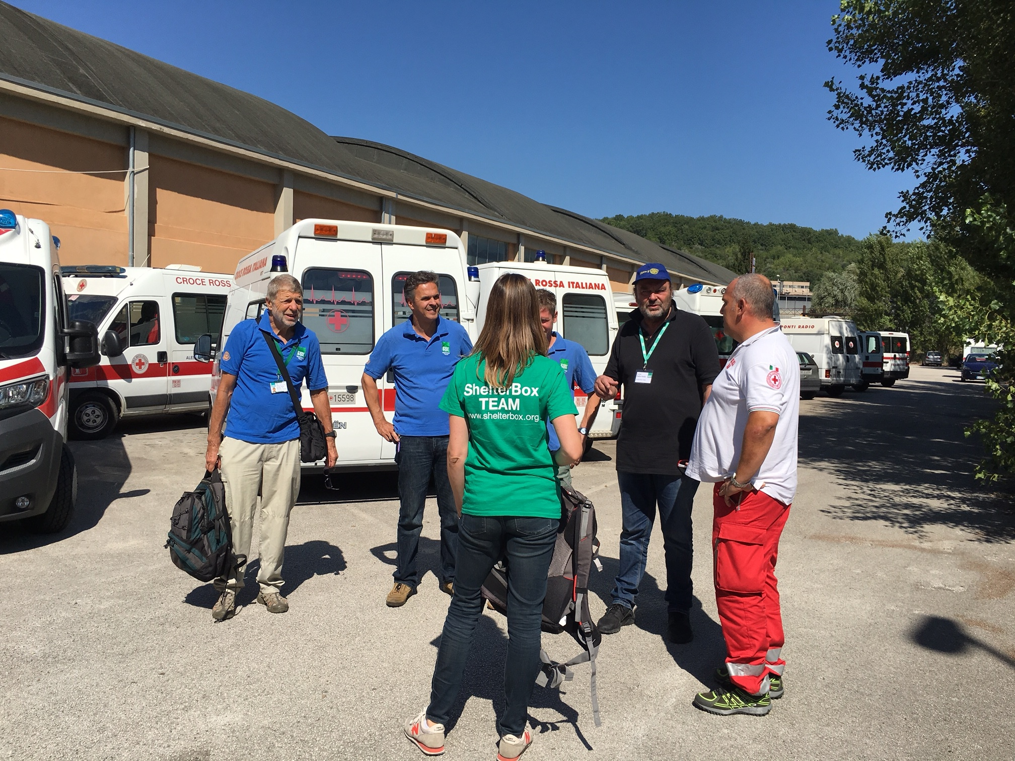 Italy quake - SB team with red cross