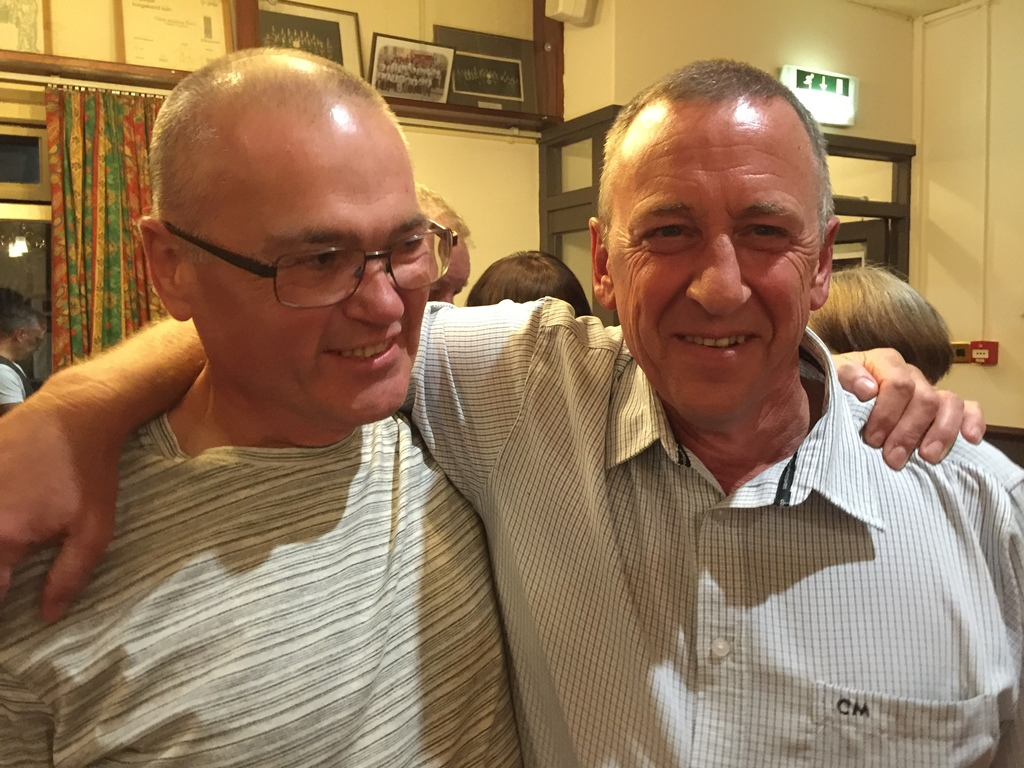 Neville Padgham, left, who was on Ian Ritchie's initial retained course in 1980, travelled 600 miles to be with him at his retirement party.