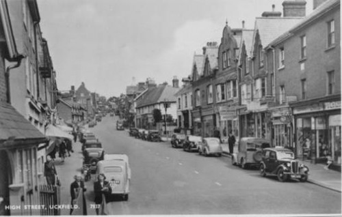Uckfield High Street in the late 1950s. Photo via Peter Gale.